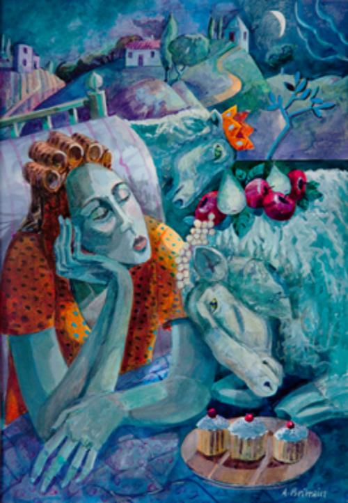 Angela Brittain, I can't sleep 2 . Watercolour on paper 38x48cm.