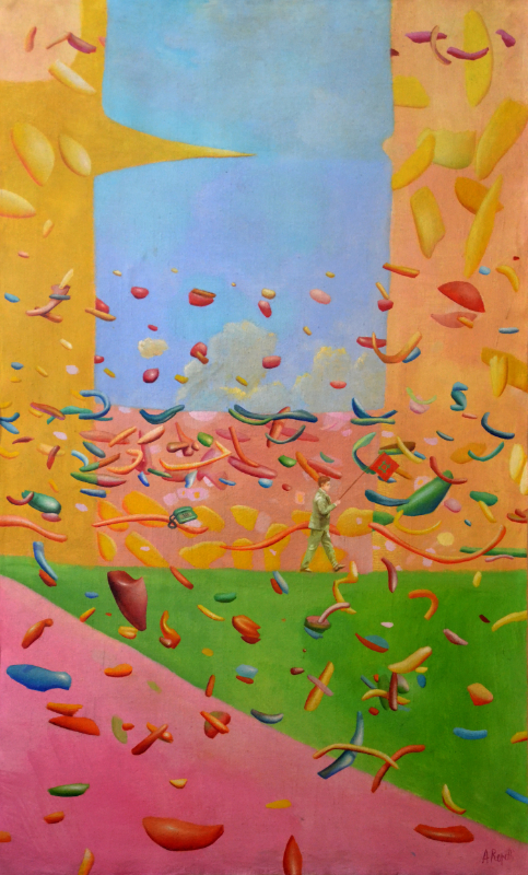 Detailed oil on canvas painting by Alberto Repetti,  Flag's noise