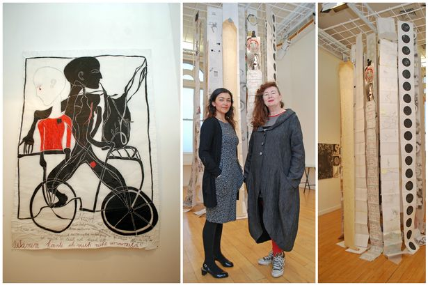 Centre: Curator Esen Kaya (left) and Whitburn artist Anne Curtis New exhibition Illustrative and Stitched Drawings at the Customs House, South Shields and features the work of regional, national and international artists.