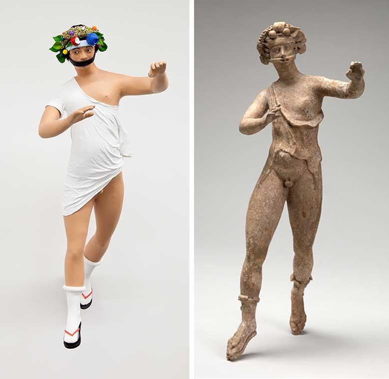 A life-size sculpture by Tom Friedman (left) corresponds to an ancient Greek figurine from the Mead collection (right).