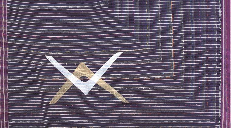 Shezad Dawood CEJ 4', 2011, acrylic on vintage textile 160 x 210cm