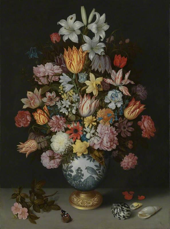 Bosschaert the Elder, A Still Life of Flowers in a Wan-Li Vase (1609)