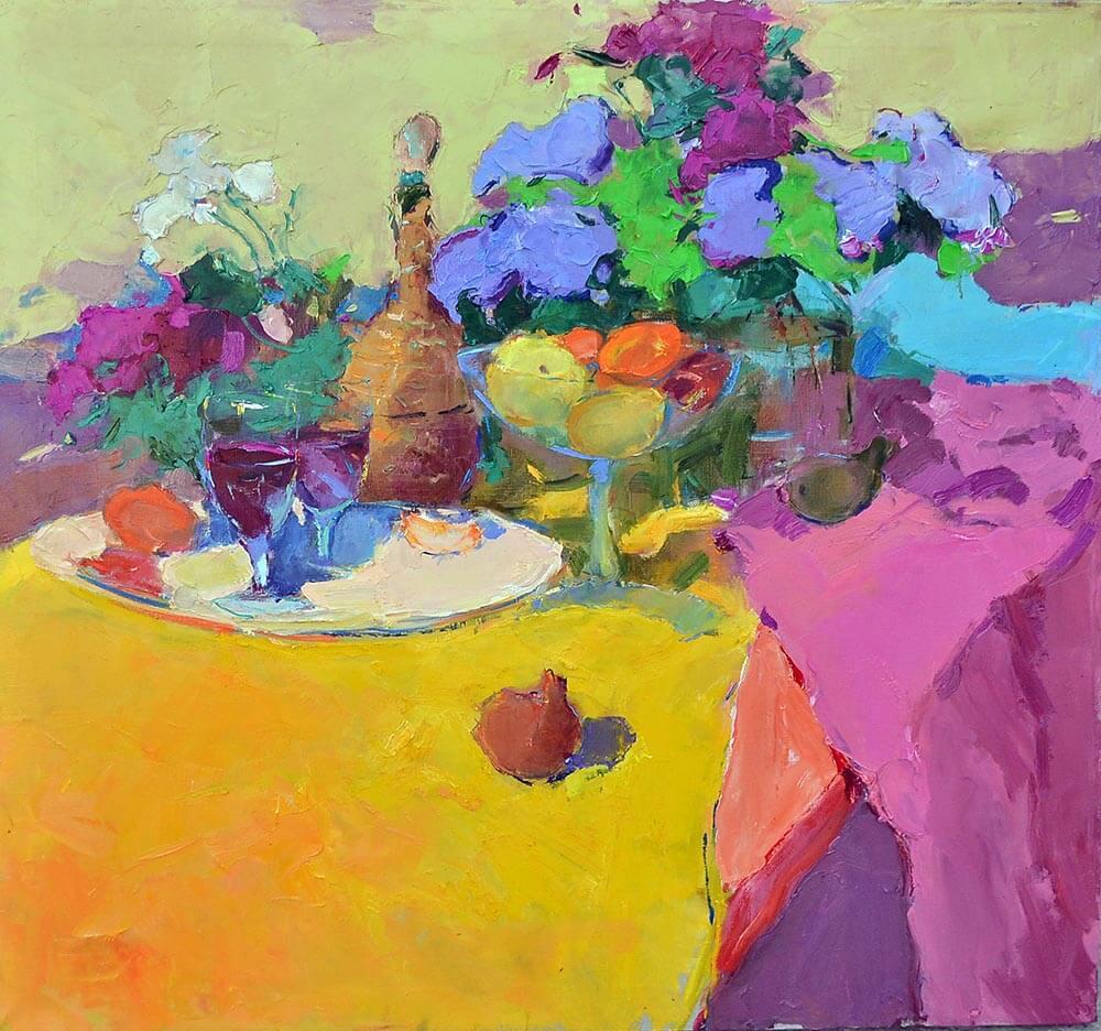 £3,800. Oil on canvas.  Dining Symphony  by Alexander Shandor