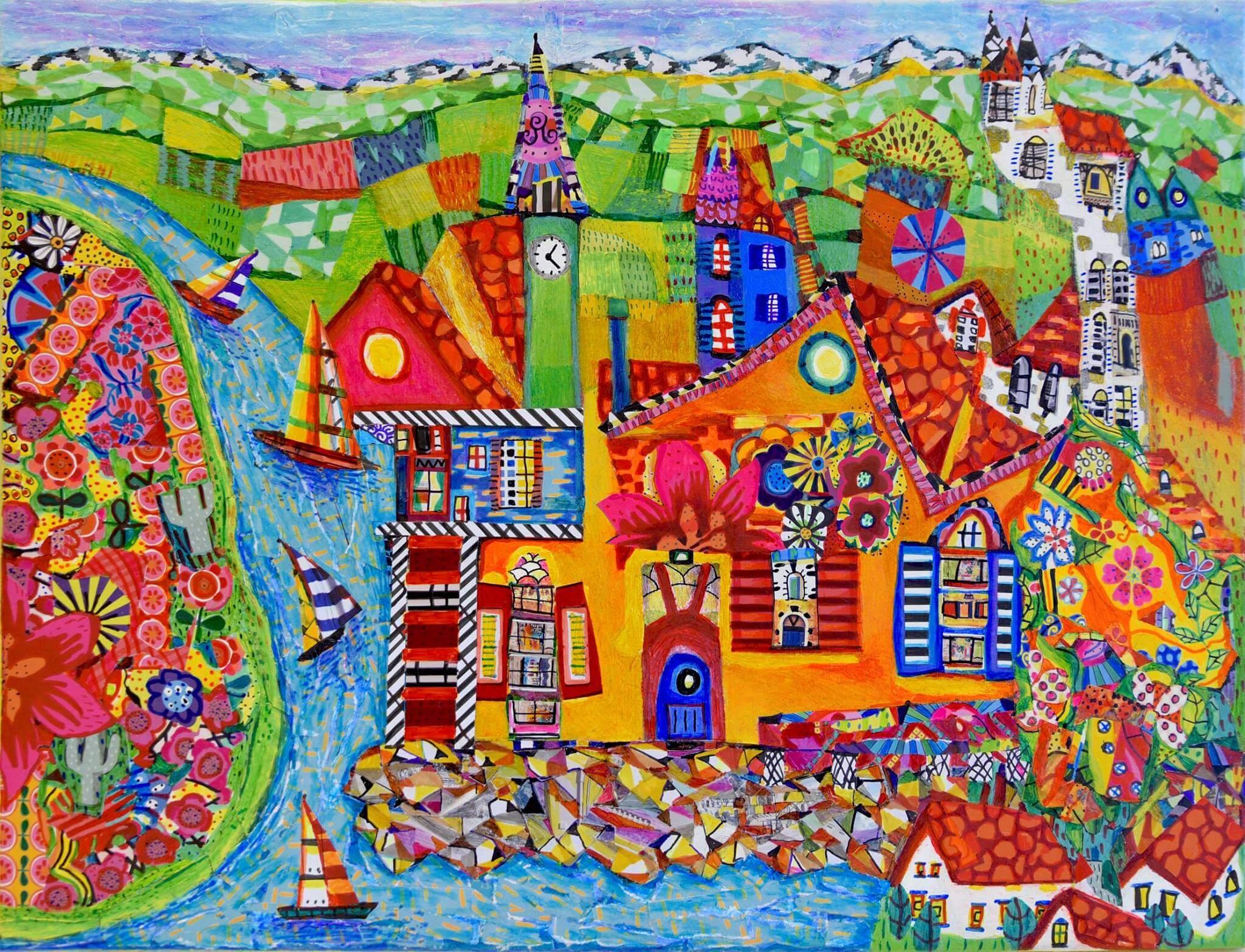 DANIEL MEAKIN, Quaint Coastal Village. £435.