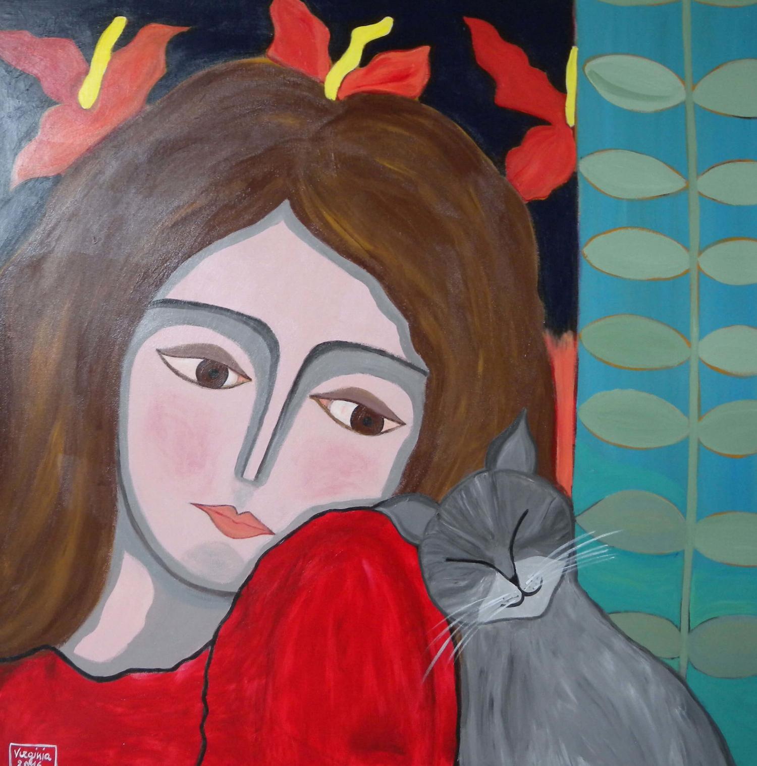 VIRGINIA DI SAVERIO, Woman with cat. £1480.