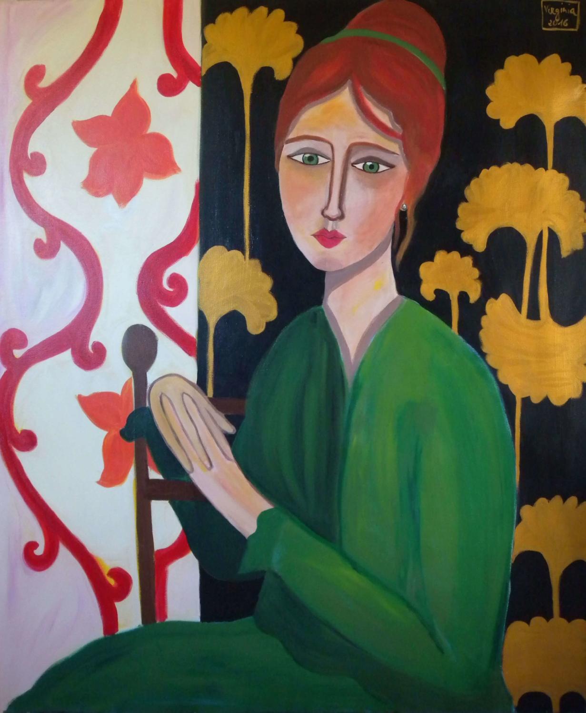VIRGINIA DI SAVERIO, Woman in green dress. £1480.