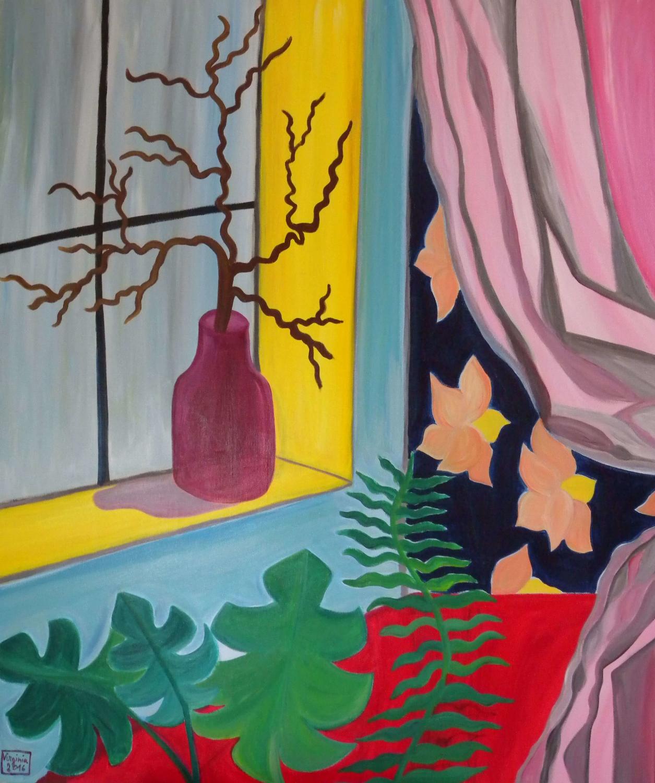 VIRGINIA DI SAVERIO, Still life with pink curtain. £1400.