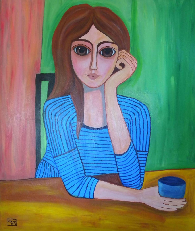 VIRGINIA DI SAVERIO, Woman at the table. £1550.