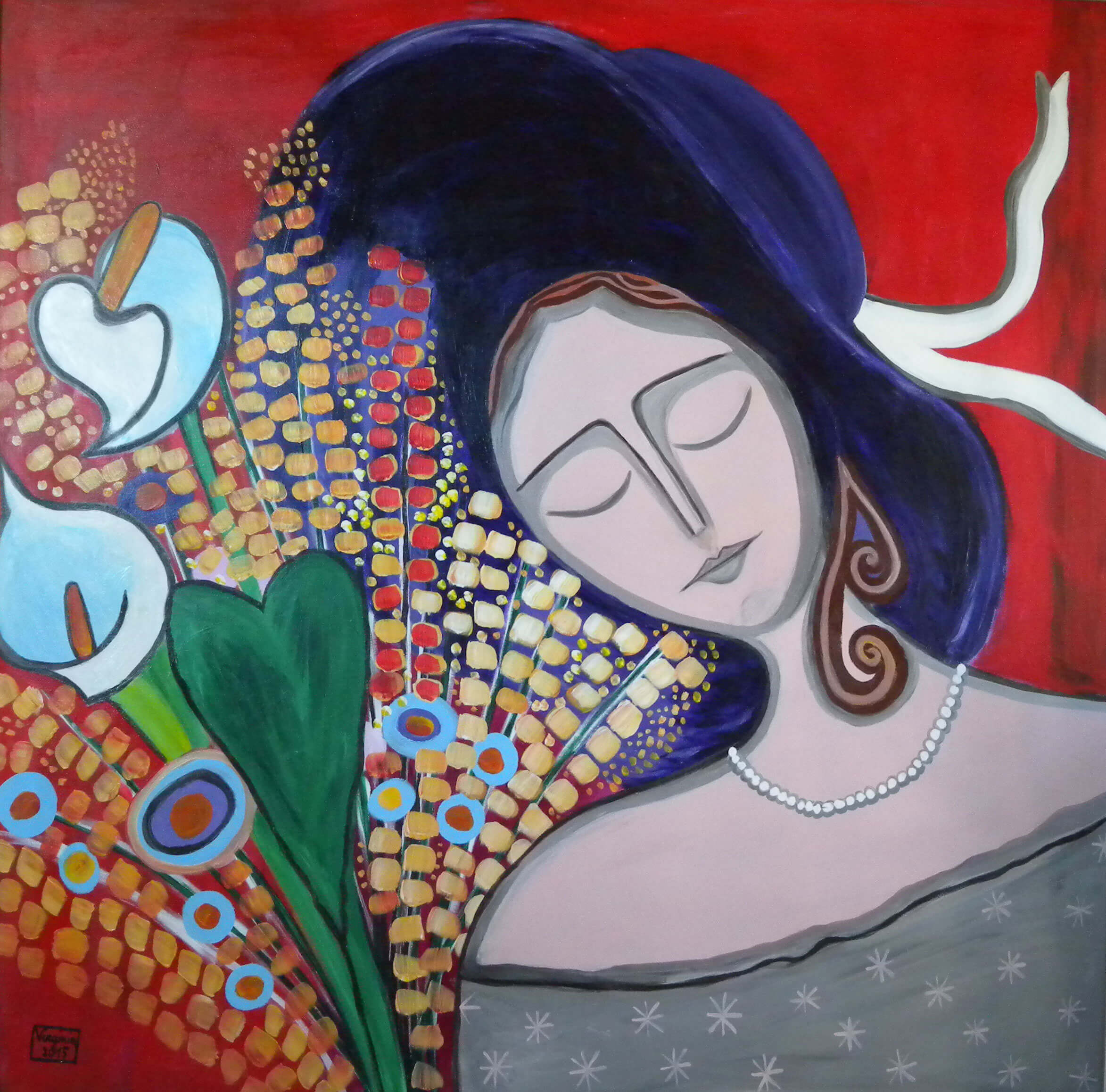 £1550. Acrylic on canvas  Woman with flowers by VIRGINIA DI SAVERIO