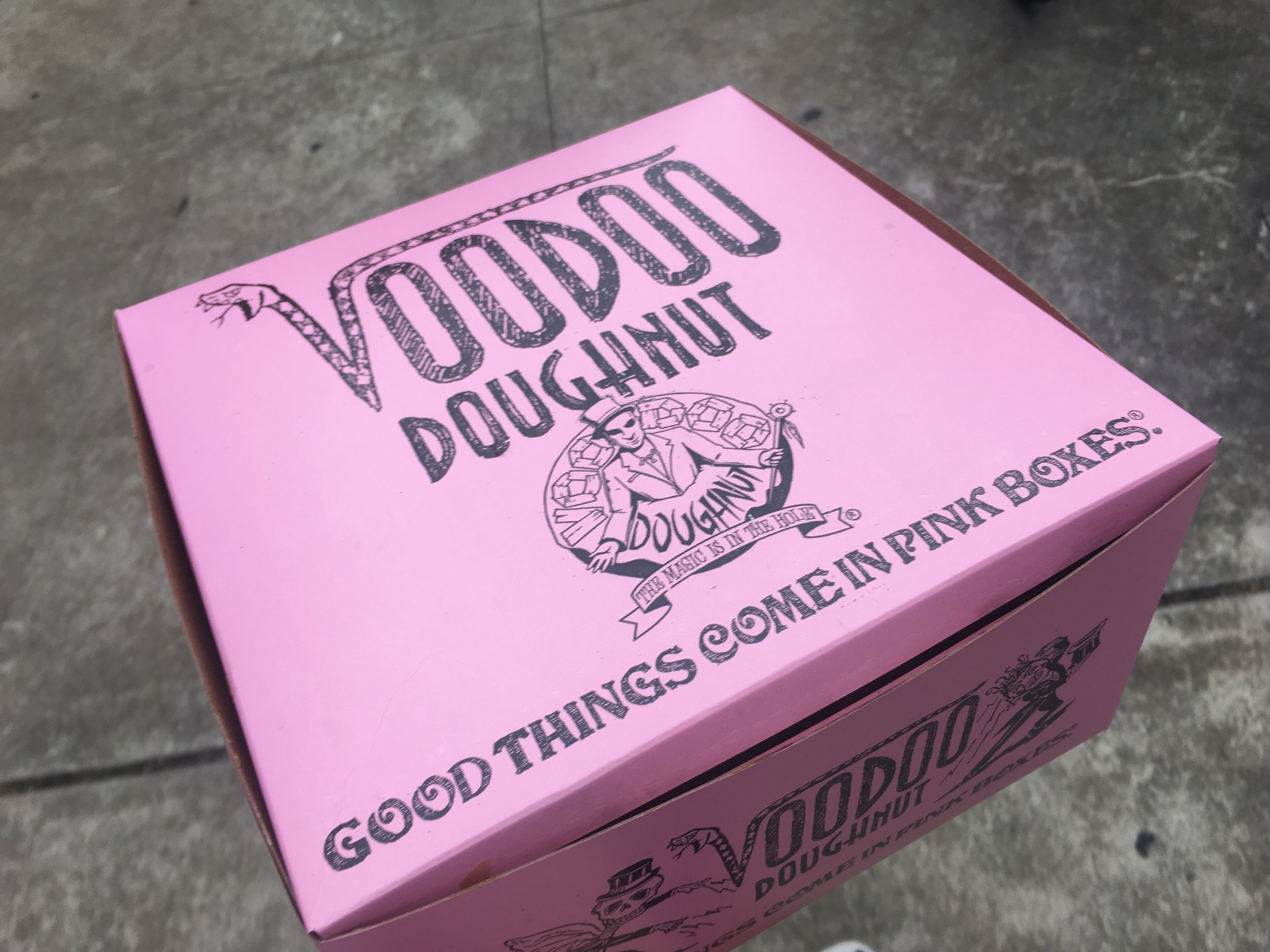 The famous Pink Box of Voodoo Doughnuts