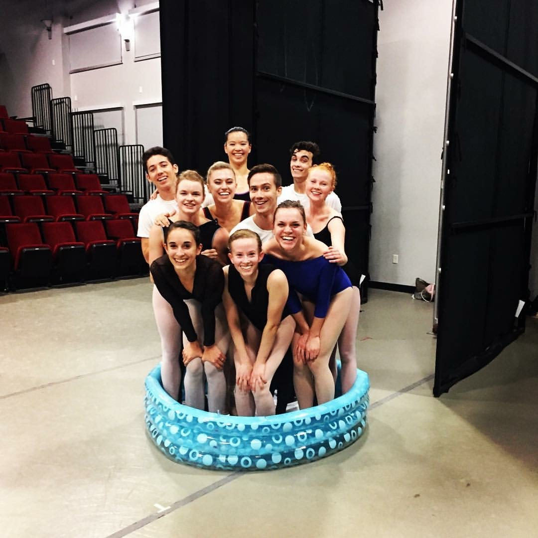 Ballet Austin's Second Company Cast for Peter and the Wolf Trying to fit in the Pool