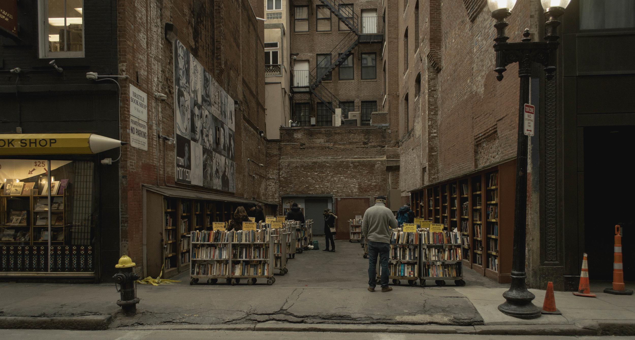 Hidden outdoor bookstore in downtown Boston