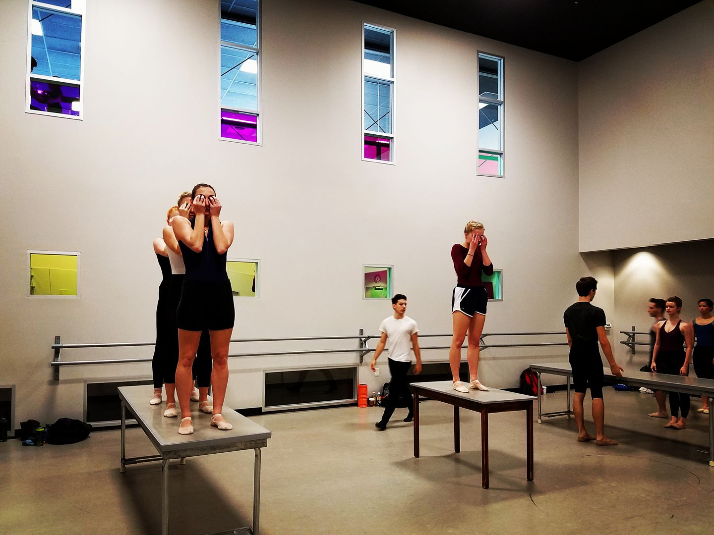 A picture of Ballet Austin Second Company in a rehearsal for Michelle Thompson Ulerich's new work.