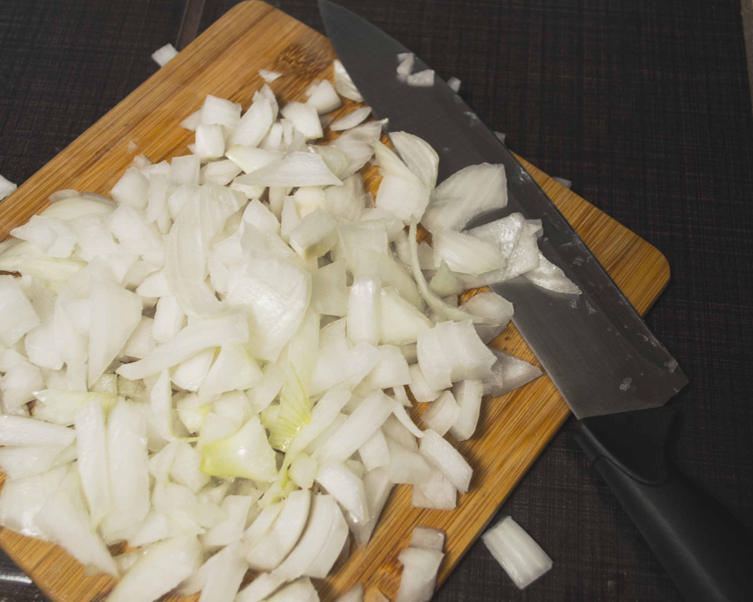 Chopped up white onion