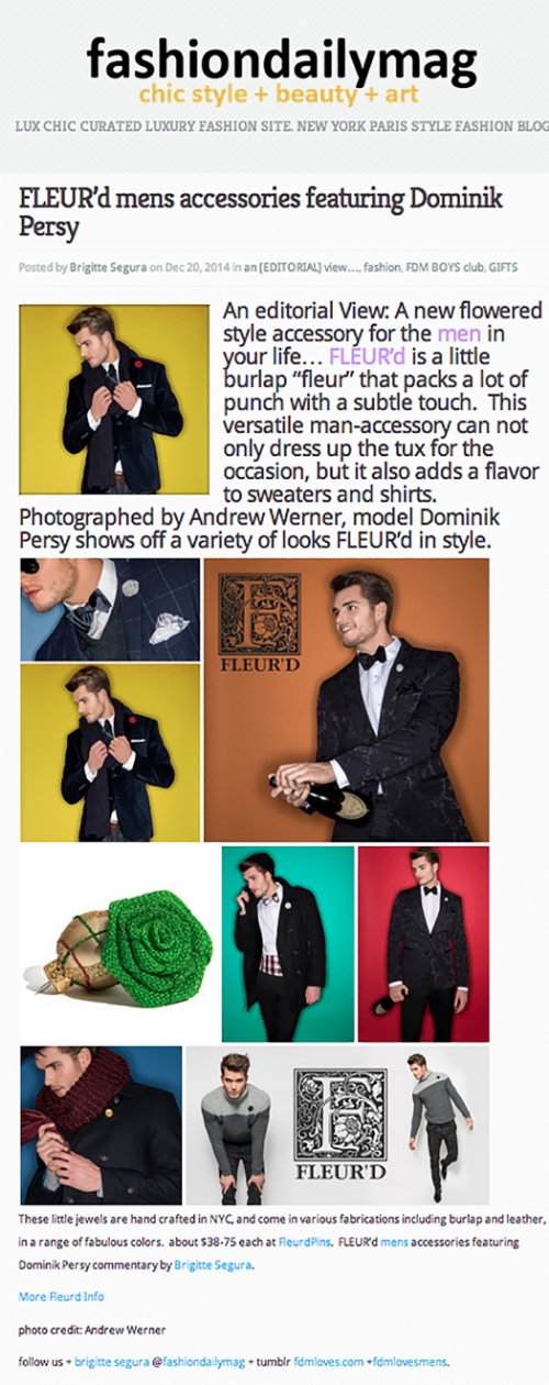 FashionDailyMag Fleur'd Pins write up Holiday 2014 - photos by Andrew Werner