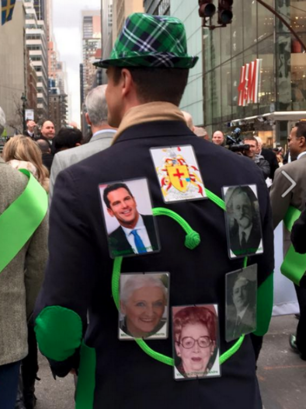 Thomas Roberts in the 2015St. Patricks Day Parade paying homage to his Irish lineage with a Fleur by Fleur'd Pins as the center piece