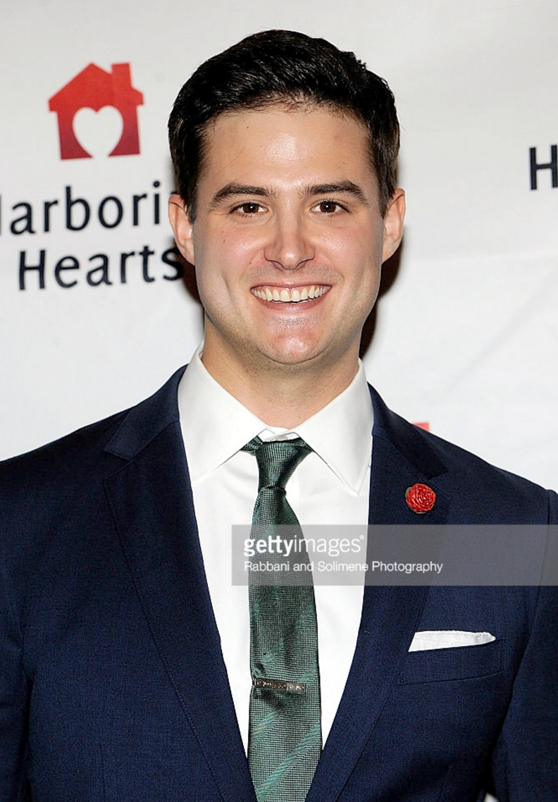 Miles Jacoby wears Fleur'd Pins to the Harboring Hearts Fall 2016 Benefit Gala at Bryant Park Grill on October 27, 2016 in New York City .png