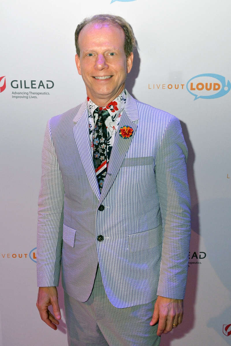 Producer Bruce Cohen spotted at the Live Out Loud Gala on June 5th 2017 at the TimesCenter in New York City wearing Fleur'd Pins Rainbow Fleur