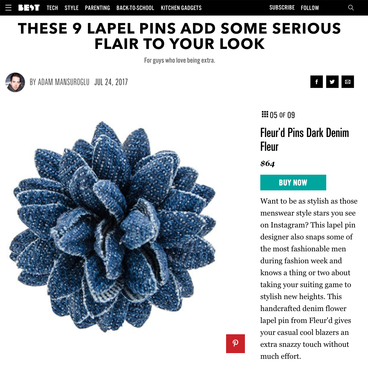 Fleur'd Pins featured on bestproducts.com - Dark Denim Fleur