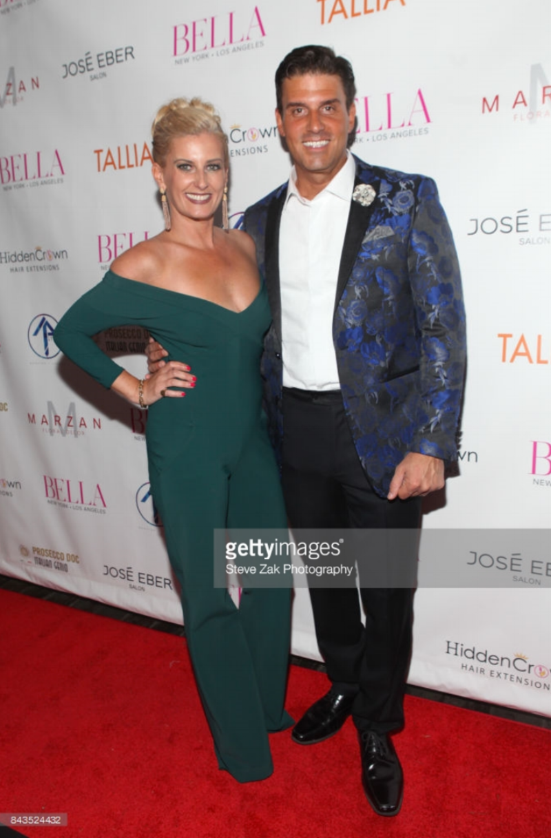 Courtenay Hall and Dan Hall, wearing Fleur'd Pins, attend Bella Magazine NYFW Kickoff Party at The Attic Rooftop Lounge on 9.6.17 in New York City