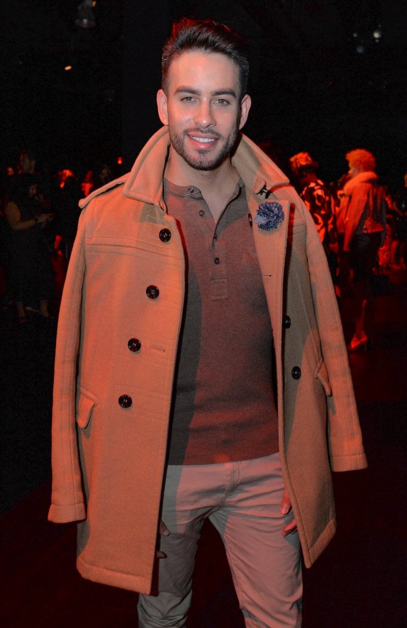 Allan Aponte attends The Blonds SS18 9.12.17 wearing a custom large denim carnation by Fleur'd Pins - photo by Andrew Werner.jpg