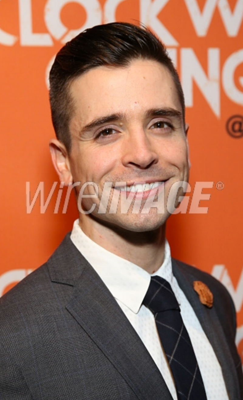 Actor Matt Doyle attends the opening night after party for 'A Clockwork Orange' at the New World Stages on September 25, 2017 wearing Fleur'd Pins