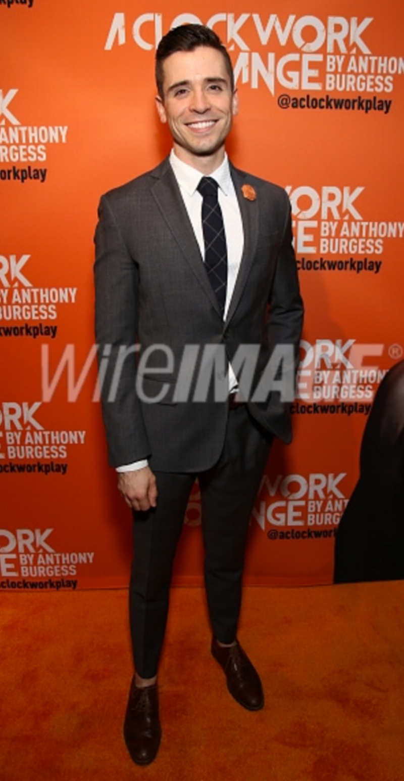 Actor Matt Doyle attends the opening night after party for 'A Clockwork Orange' at the New World Stages on September 25, 2017 wearing Fleur'd Pins .png