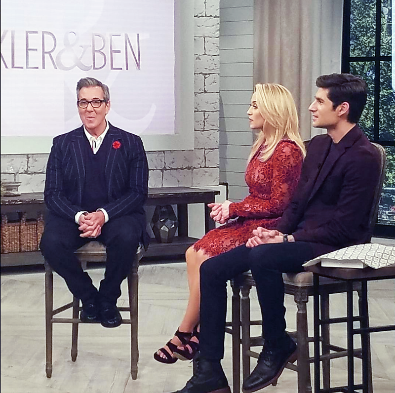 Image consultant and author George Brescia wearing Fleur'd Pins on Pickler & Ben, February 26th 2018 - the red leather dahlia.png