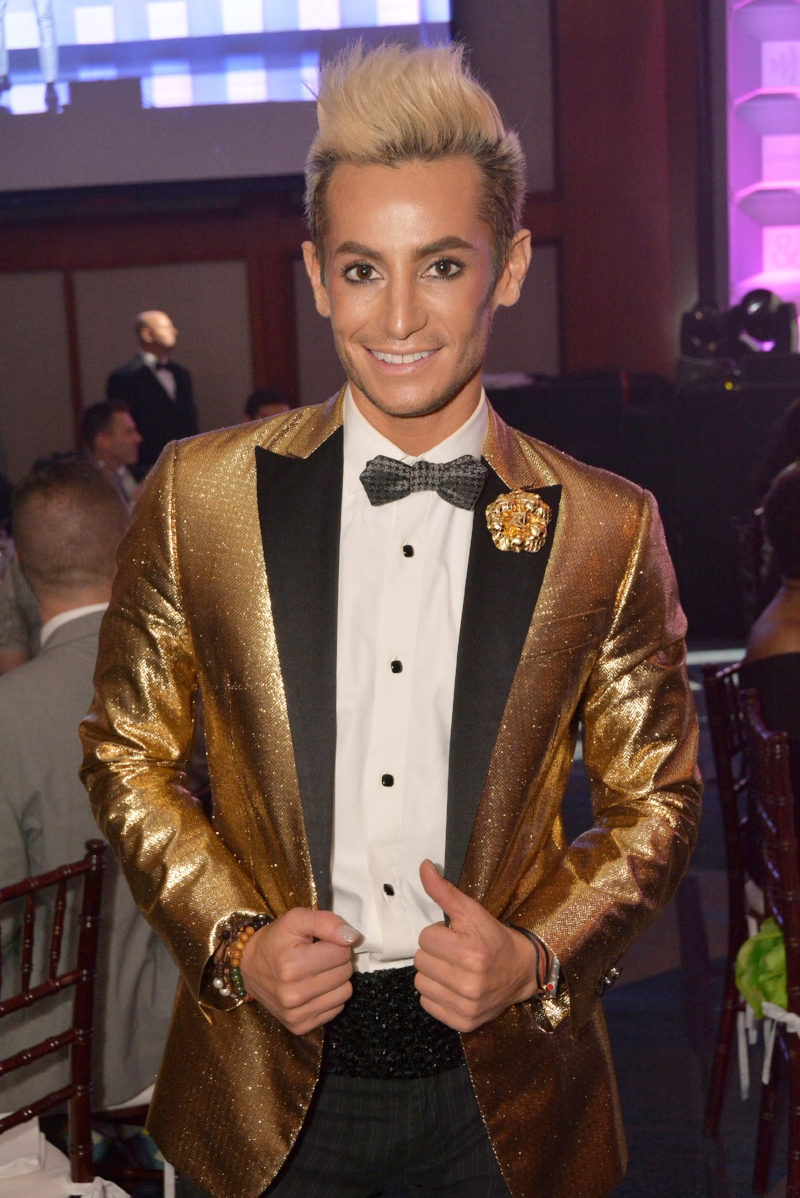 Frankie Grande wears Fleur'd Pins Gold Python Camellia at the GLAAD Media Awards 5.5.18 - photo by Andrew Werner