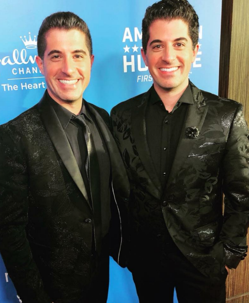 Anthony Nunziata (L) wearing Fleur'd Pins, and his brother Will perform at the Hallmark Channel USA's televised American Humane Hero Dog Awards show at The Beverly Hilton September 29th 2018.png