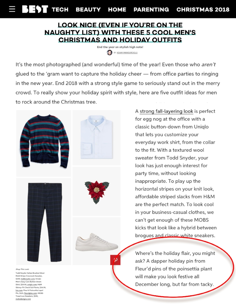 BEST PRODUCTS - Holiday 2018 Guide ft. Fleur'd Pins Poinsettia lapel flower .jpg