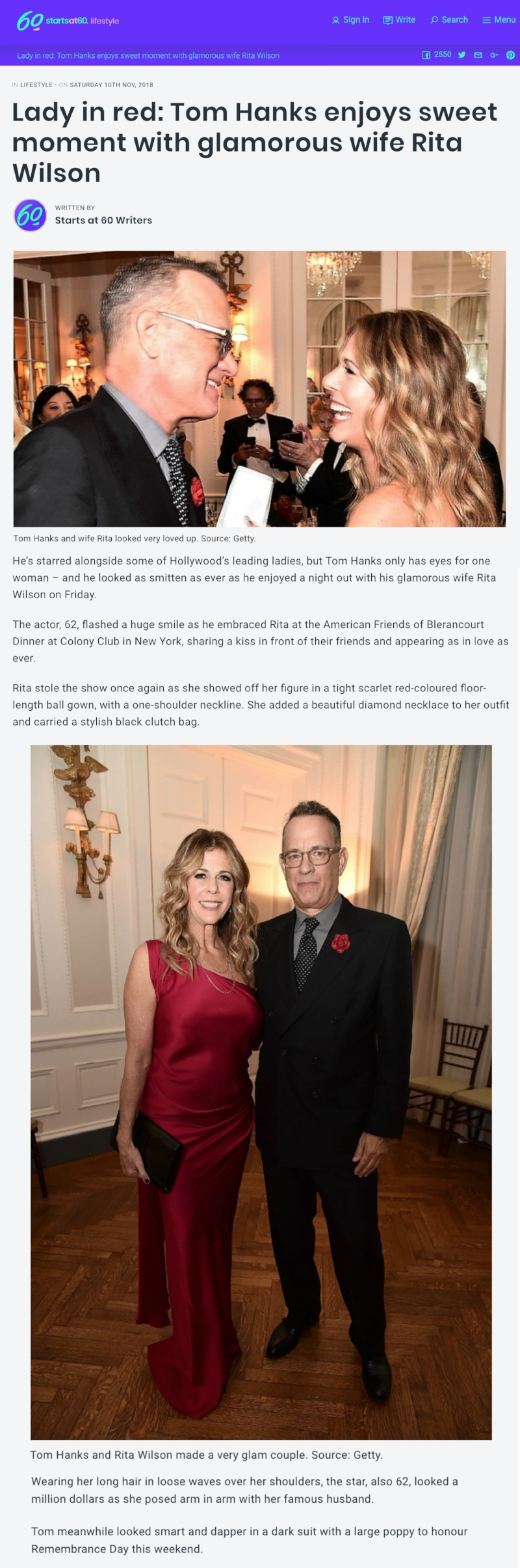 Lady In Red - Tom Hanks, wearing Fleur'd Pins, Enjoys Sweet Moment with Glamorous Wife Rita.jpg
