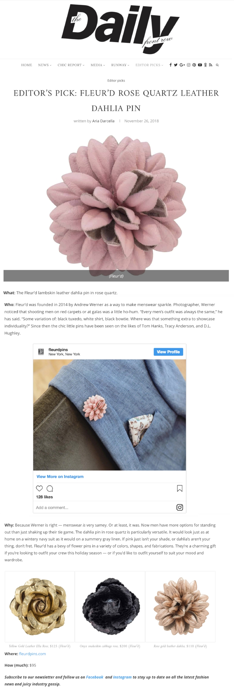 Daily Front Row Editor's Pick 11.26.18 - Fleur'd Pins Rose Quartz Leather Dahlia.jpg