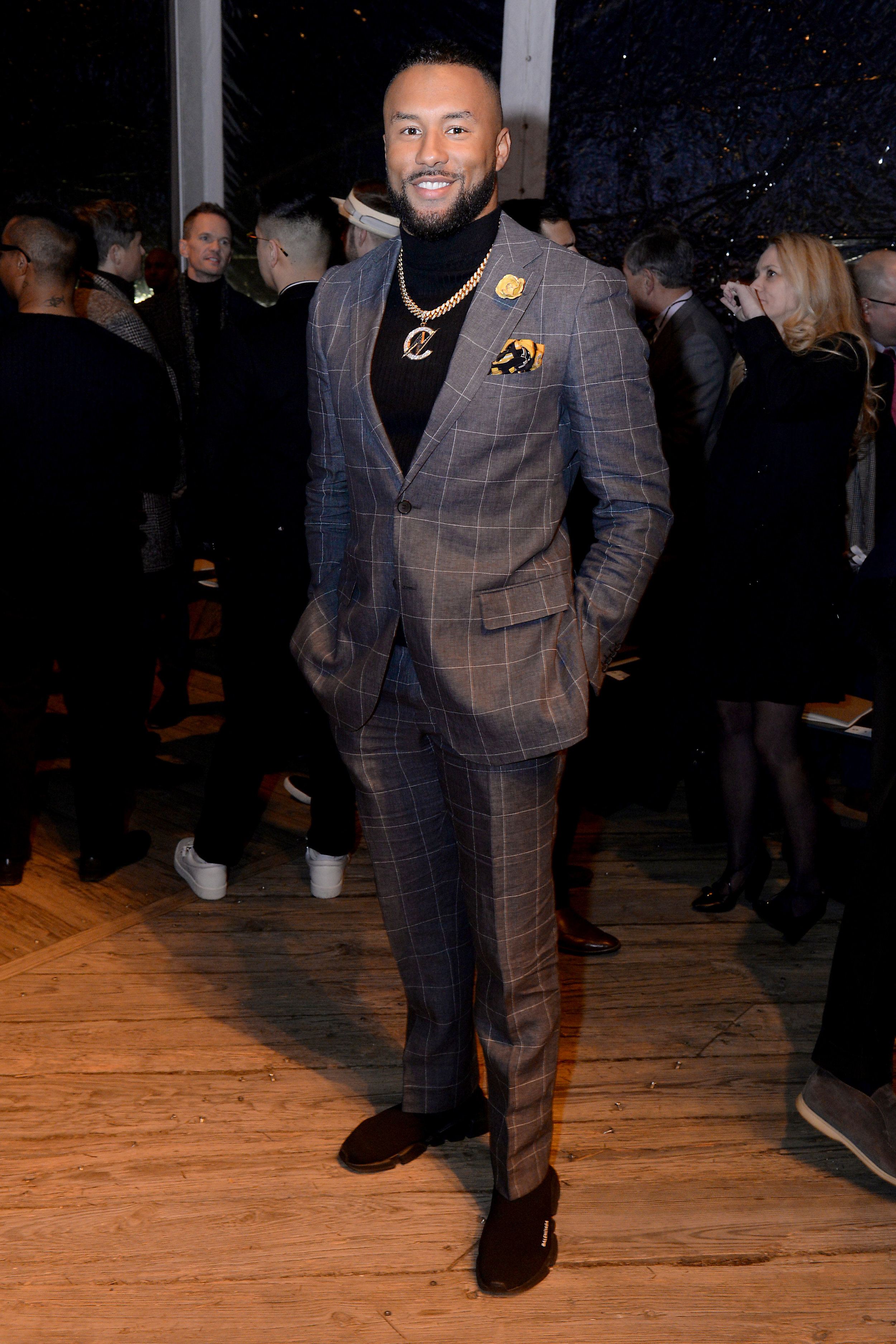 NFL player Nolan Carroll wears Fleur'd Pins Buttercup Snakeskin Cabbage Rose to Joseph Abboud FW19 2.4.19 - photo by Andrew Werner, AHW_9908.jpg
