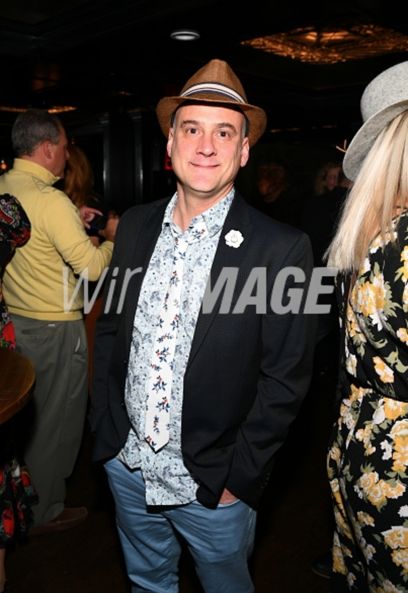 Dustin Hughes, wearing Fleur'd Pins White Leather Mini Gardenia attends the Tribeca Film Festival After-Party For The Place Of No Words at District Social on April 27, 2019 in New York City - Photo by Dave Kotinsky.png