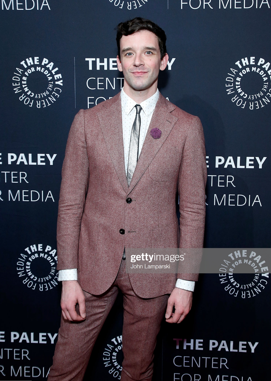 Michael Urie, wearing Fleur'd Pins' Purple Burlap Rose, attends The Paley Honors, A Gala Tribute To LGBTQ at The Ziegfeld Ballroom on May 15, 2019 in New York City.png