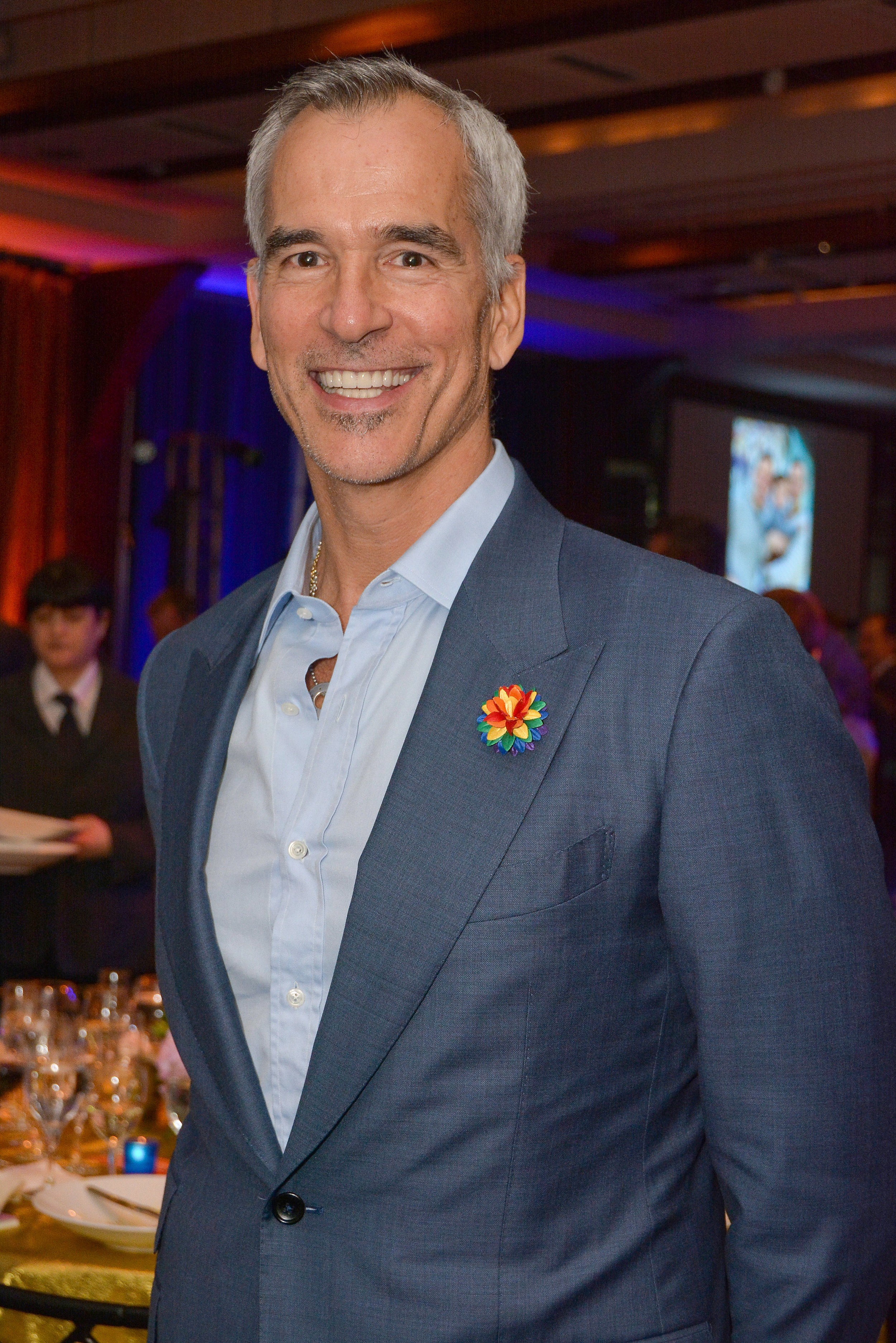 Award Winning Broadway Choreographer Jerry Mitchell wears Fleur'd Pins Pride Satin Dahlia to the 2019 Night at the Pier Gala 5.6.19 - photo by Andrew Werner.jpg
