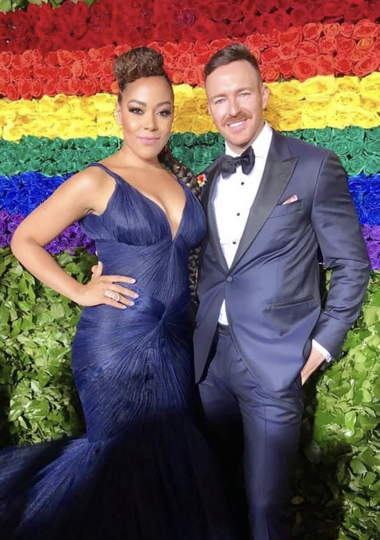 Broadway's Lilli Cooper attends the 2019 Tony Awards with her husband, wearing Fleur'd Pins Pride Leather Dahlia 1.jpg