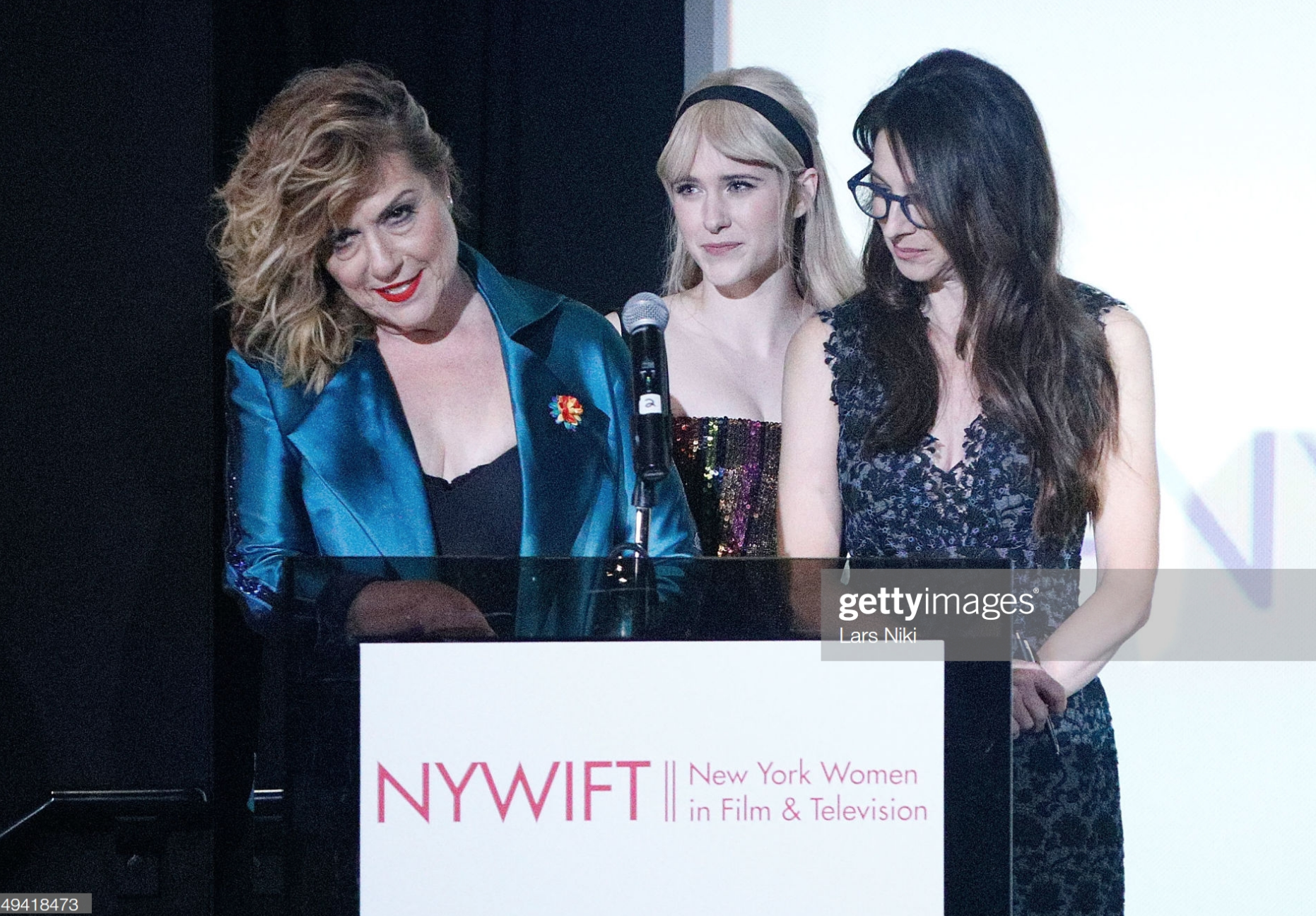 Actors Caroline Aaron, Rachel Brosnahan and Marin Hinkle on stage during the New York Women in Film and Television's %22Designing Women Awards%22 at the DGA on June 11, 2019 in New York City..png