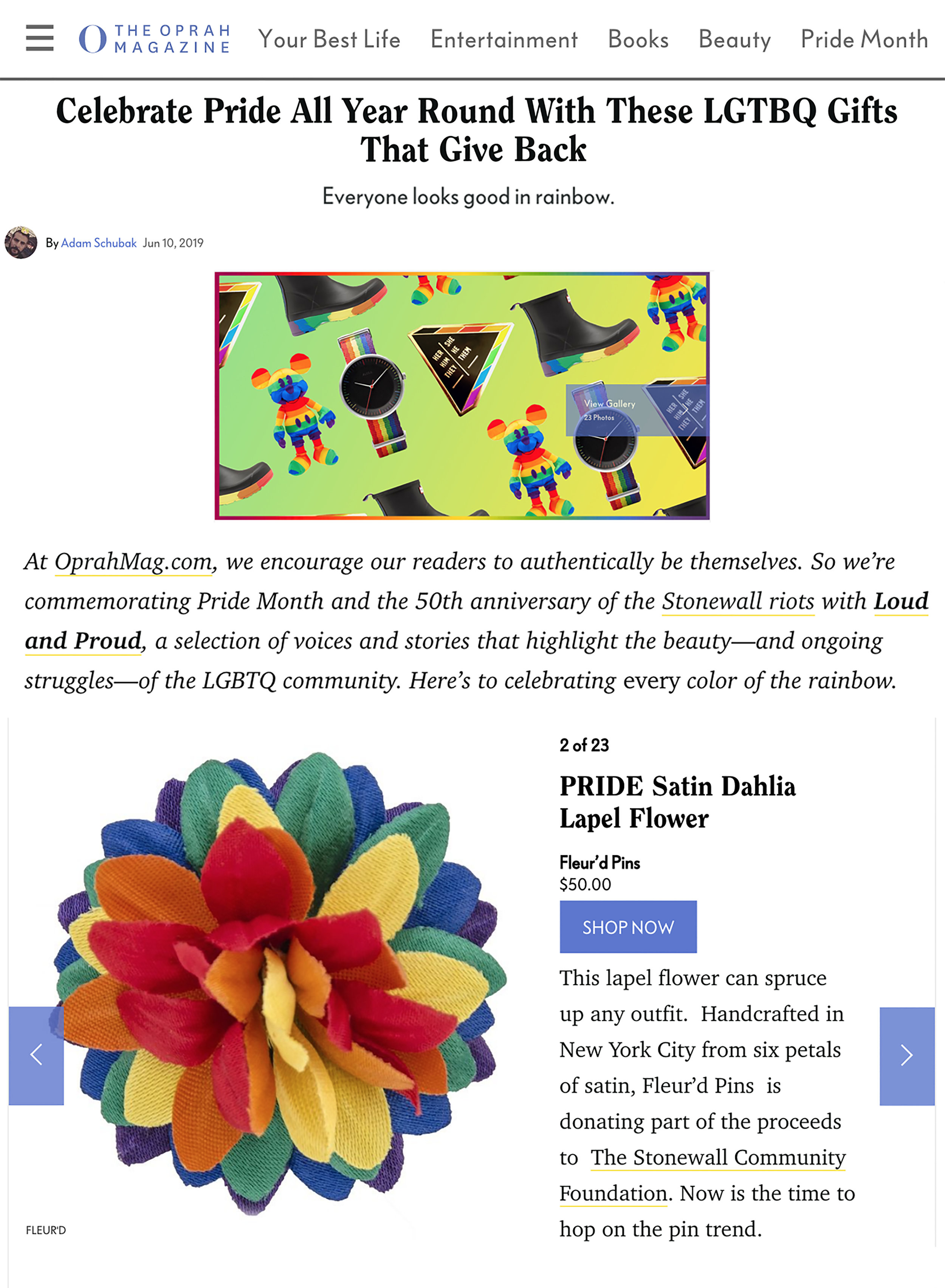 Fleur'd Pins Pride Satin Dahlia featured in O Magazine - June 20th 2019.jpg
