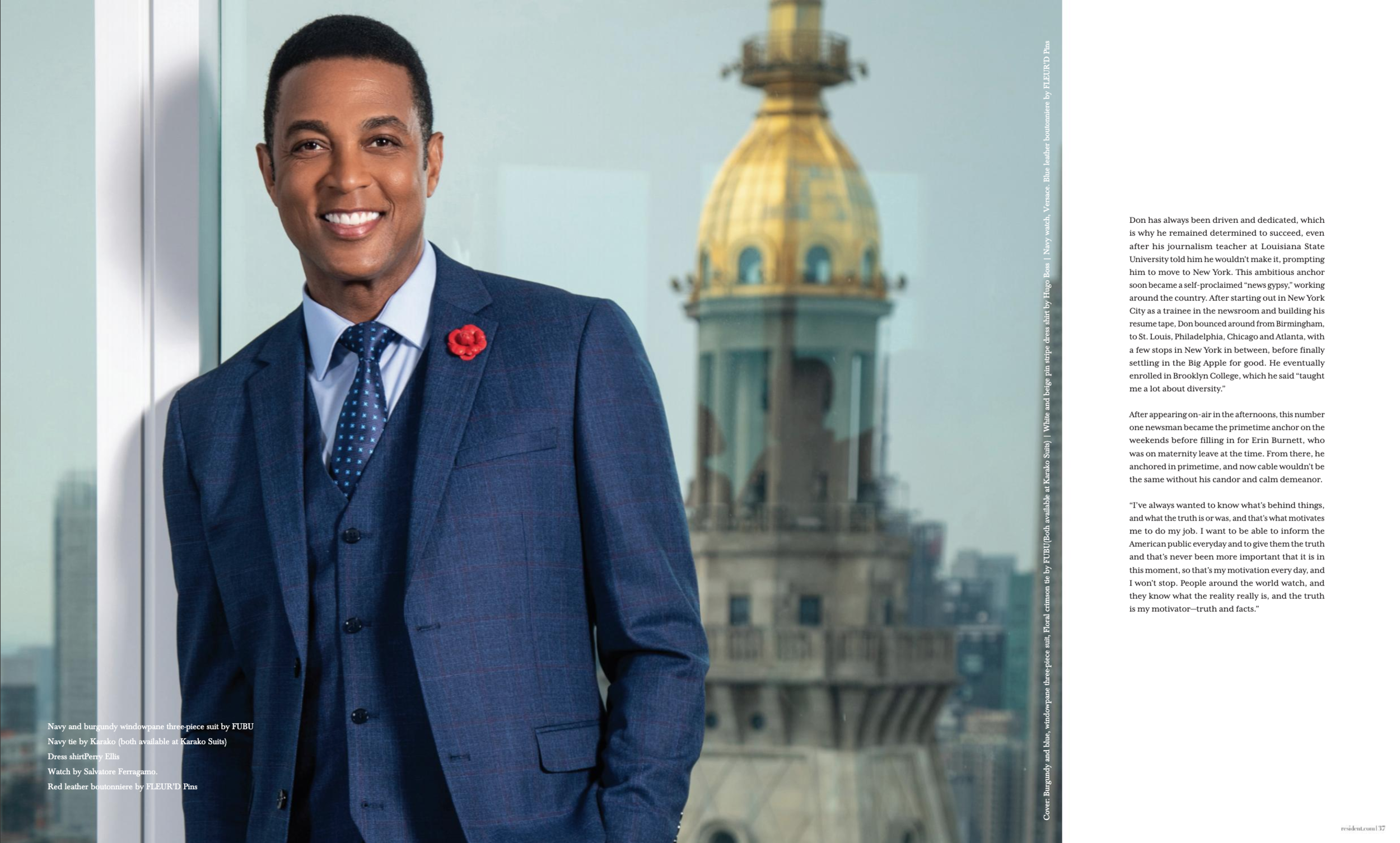 Don Lemon, wearing Fleur'd Pins Red Leather Mini Gardenia in Resident Magazine - July 2019.png
