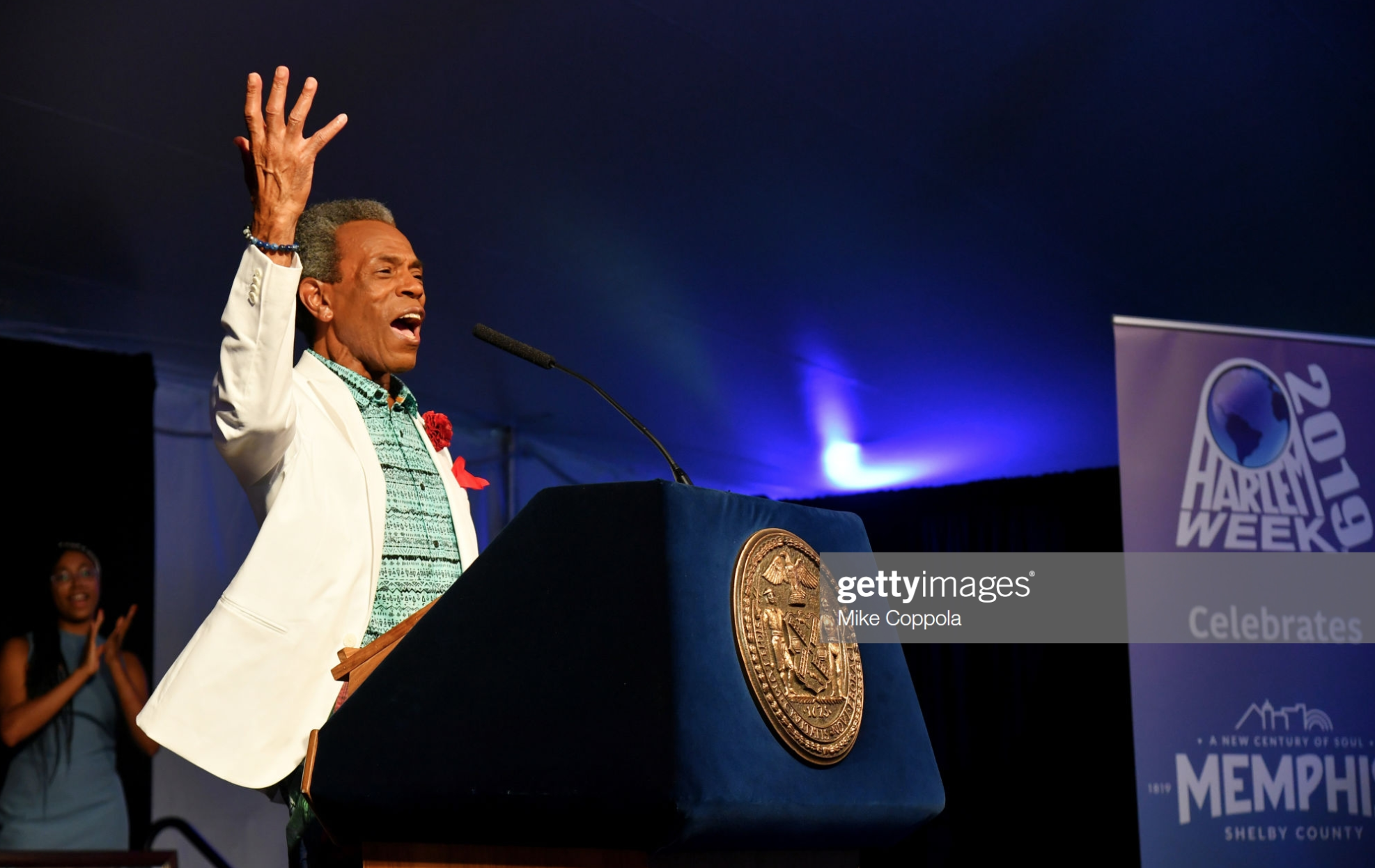 Andre De Shields accepts an award as Harlem, New York City And New York State honor Memphis' 200th Anniversary celebrating %22A New Century Of Soul%22 between two iconic communities at Gracie Mansion on July 18, 2019 in New York City  wearing Fleur'd Pins