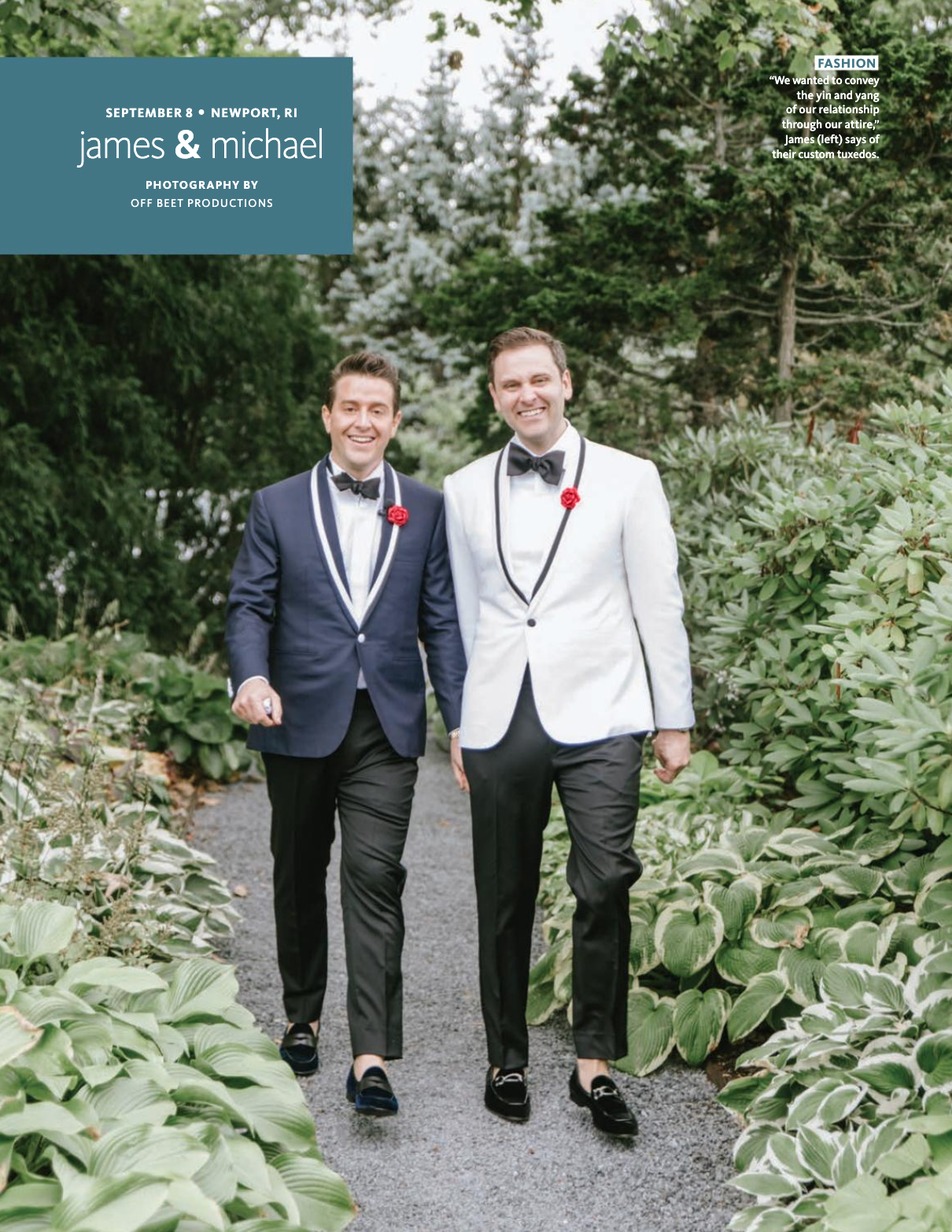 James and Michael Wedding featuring Fleur'd Pins Red Leather Ella Roses in The Knot 2019 page 1.png