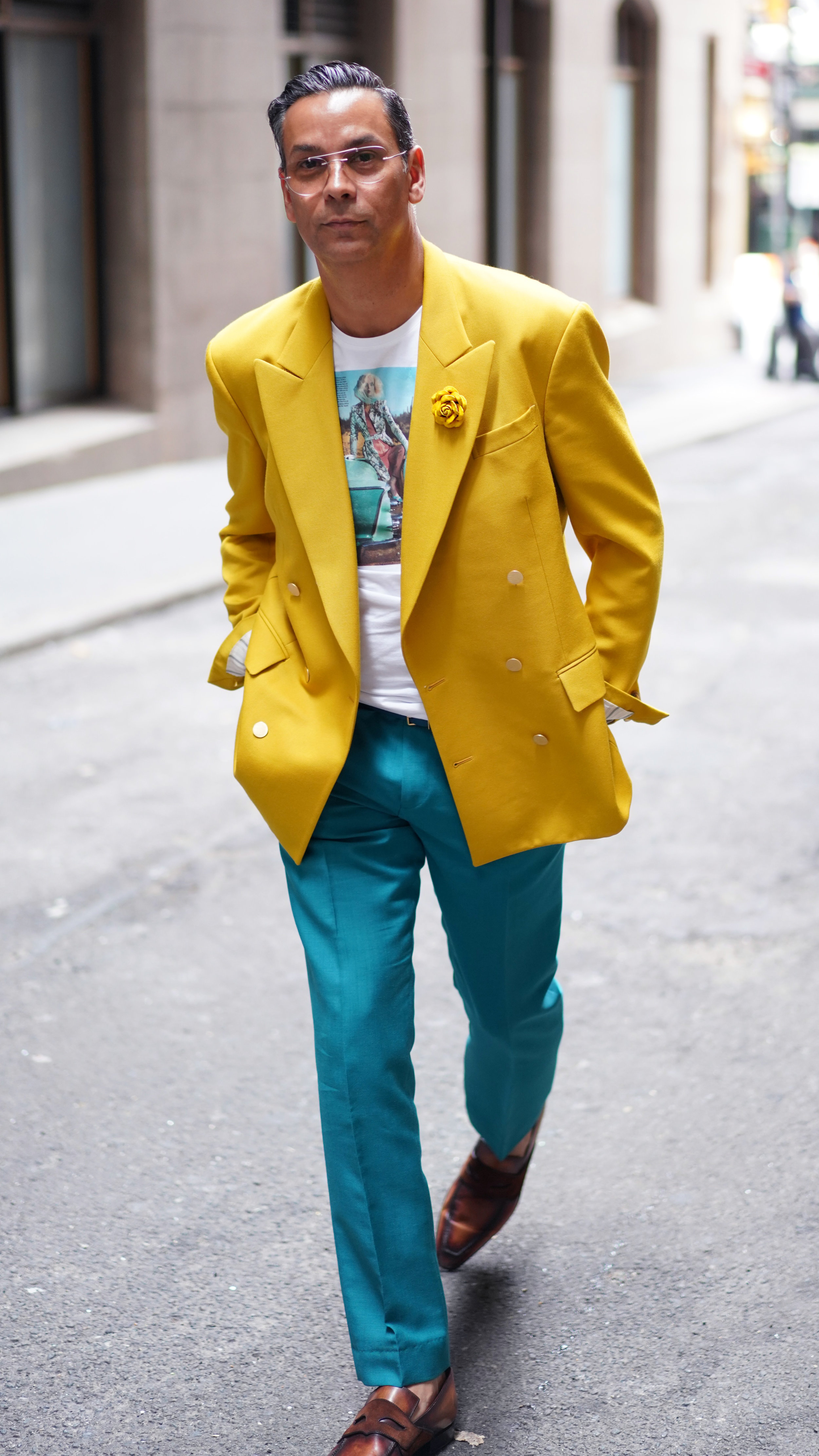 Modern Luxury Fashion Director, James Aguiar, wears Fleur'd Pins' FW19 Sunflower Suede Eli Rose to NYFW SS20 while shooting with Rolls Royce.JPG