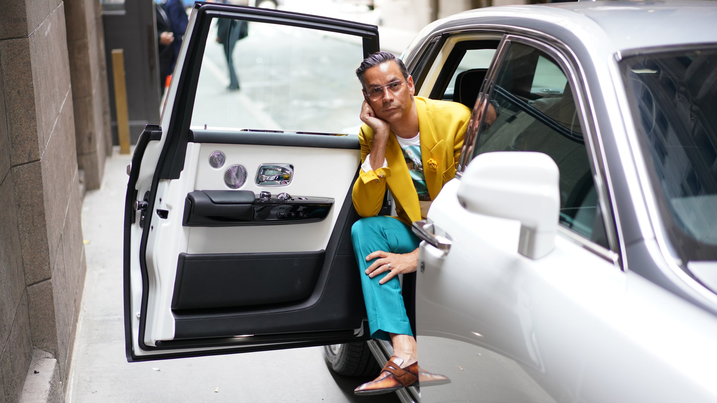 Modern Luxury Fashion Director, James Aguiar, wears Fleur'd Pins' FW19 Sunflower Suede Eli Rose to NYFW SS20 while shooting with Rolls Royce .JPG