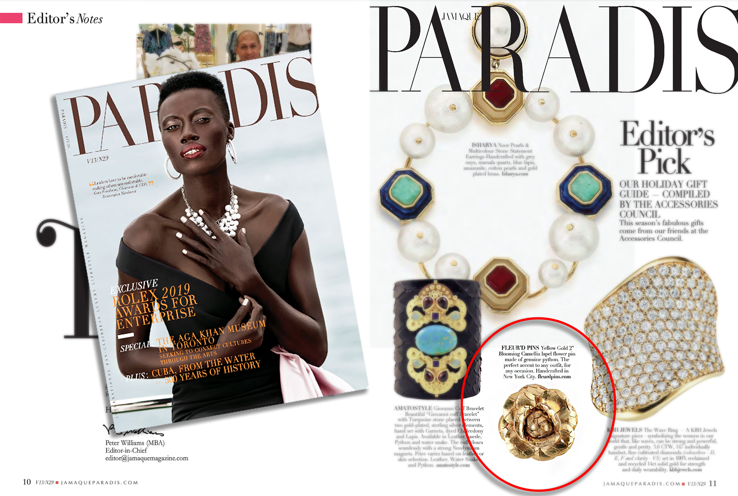Jamaque Paradis Fall 2019 issue featuring Fleur'd Pins' Yellow Gold Python Blooming Camellia lapel flower.jpg