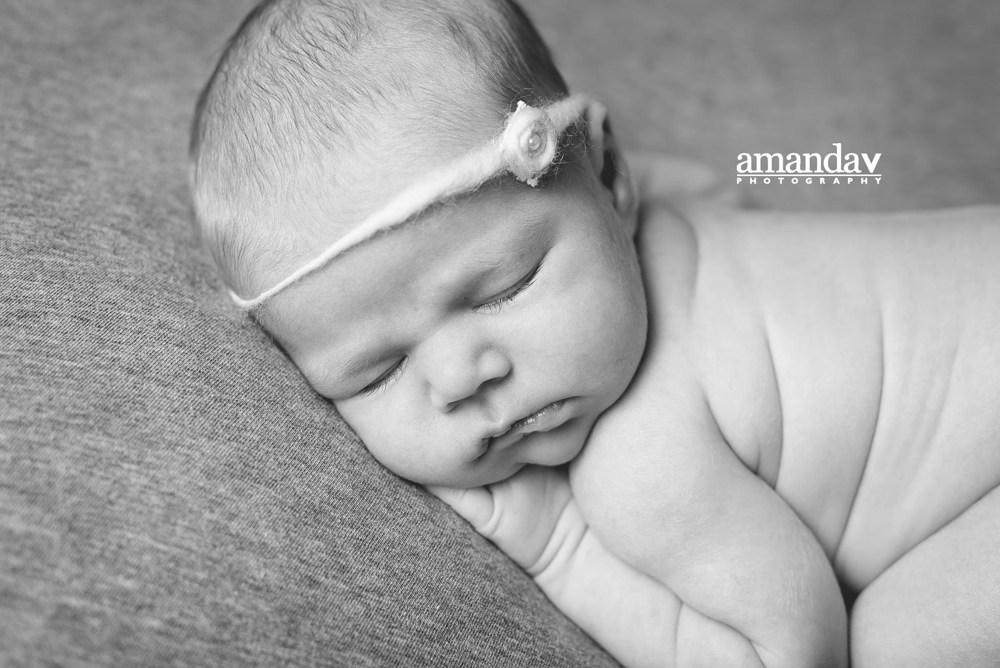 black and white newborn image