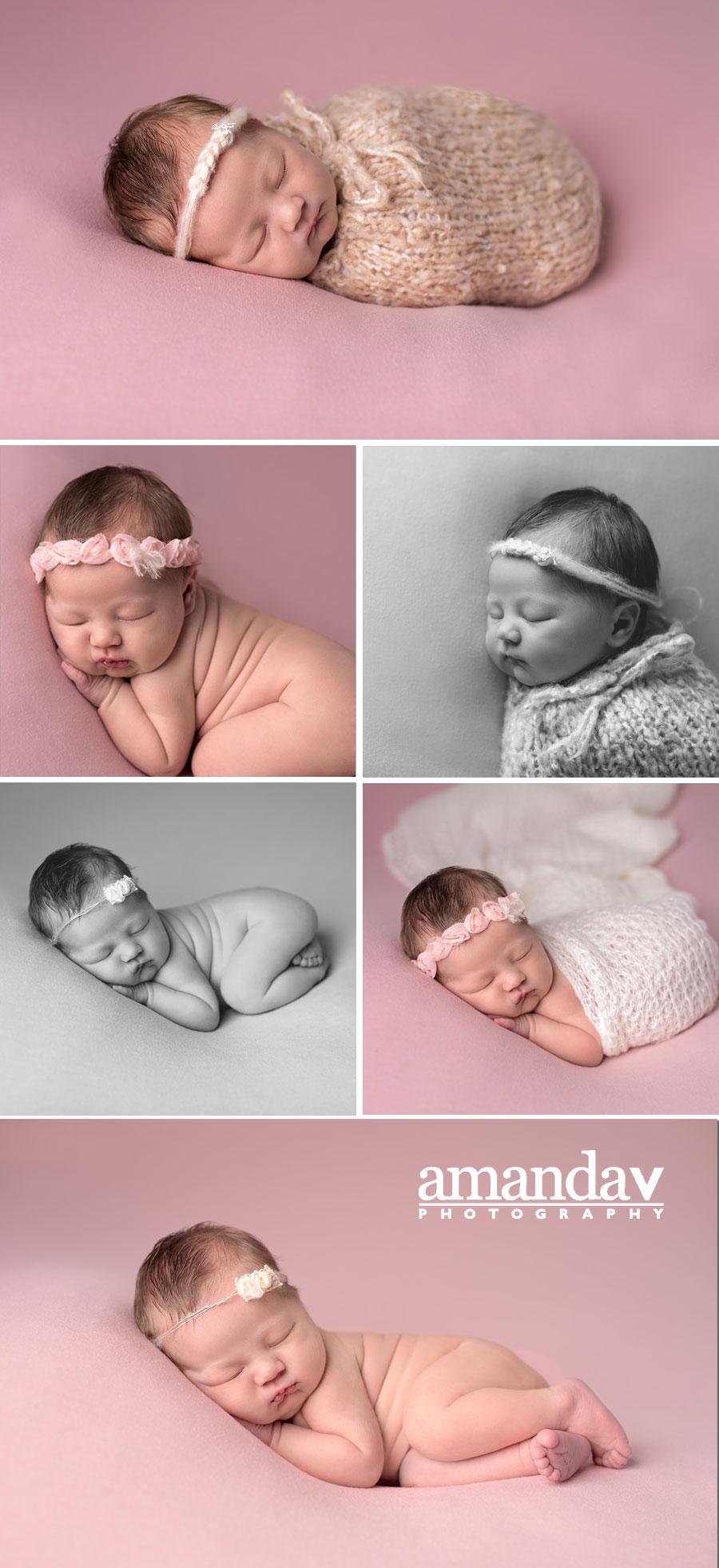 newborn girl on pink backdrop