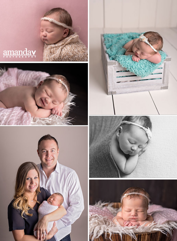 collage of newborn images in Kelowna studio