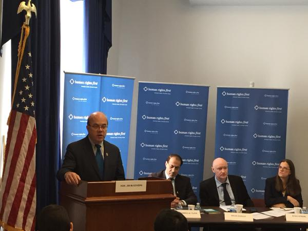Rep. Jim McGovern kicks off the Congressional briefing with a pitch for an interagency review of the U.S. government's relationship with Bahrain, alongside panelists Muhammad Al-Tajer (Bahraini human rights lawyer), Brian Dooley (Director of Human Rights Defenders at Human Rights First), and Staci Strobl ( Crimcast , John Jay College of Criminal Justice).